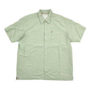 Quiksilver Button Shirt Mens XL Green Short Sleeve